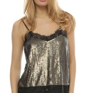Guess Gold Sequin Top with Black Lace